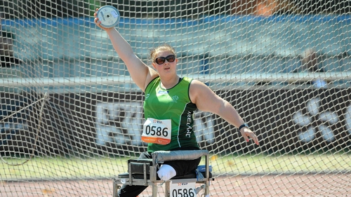 Orla Barry in action in the F57/58 discus final