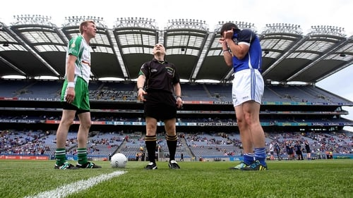 London captain Seamus Hannon with Cavan captain Alan Clarke for the coin toss at Croke Park before their All-Ireland round four qualifier clash