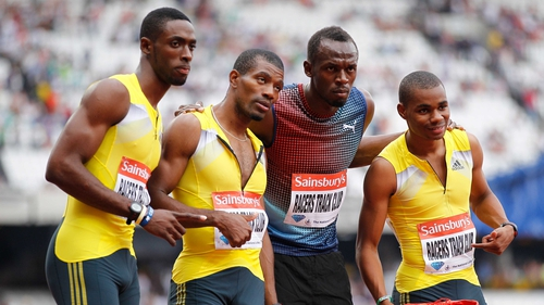 Left to right: Kemar Bailey-Cole, Mario Forsythe, Usain Bolt and Warren Weir of Jamaica pose after winning the men's 4x100m relay at the Anniversary Games
