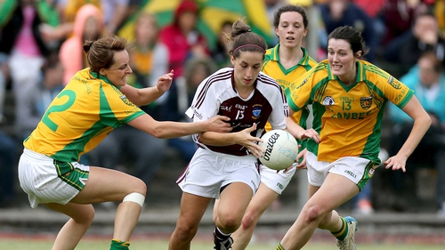 Donegal's Orlagh Carr, Therese McCafferty and Emer Gallagher chase down Karen Hegarty of Westmeath