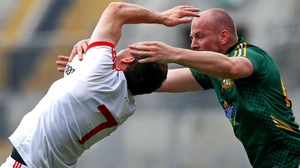 Meath's Joe Sheridan gets to grips with Tyrone's Conor Gormley