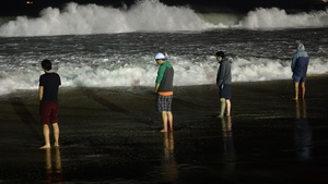Pilgrims relieve themselves on the shore