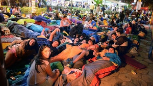 Thousands of people camped out on and around the beach overnight