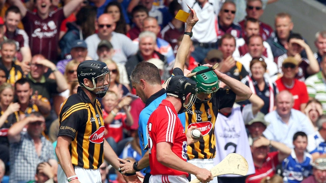 Kilkenny's Henry Shefflin receiving a second yellow card during last year's All-Ireland qualifier against Cork