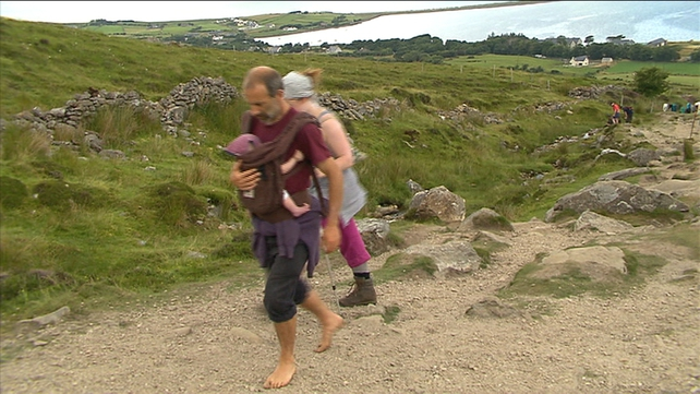 Some people climbed Croagh Patrick in their bare feet
