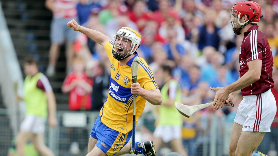 Clare and Galway met in the day's second All-Ireland hurling quarter-final, with Clare's Conor McGrath hitting the back of the net for the Banner men