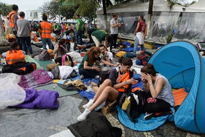 Pilgrims camped overnight to ensure they kept their place