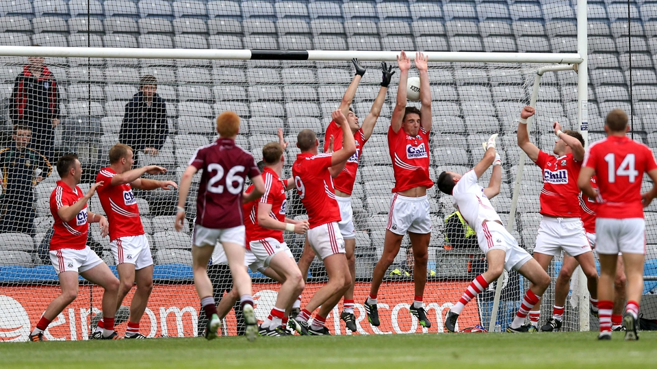 Aidan Walsh and his Cork team-mates fail to stop Michael Meehan scoring a goal with the last kick of the game