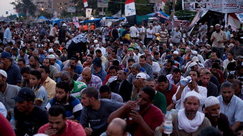 Thousands of Muslim Brotherhood supporters have been staging a vigil outside the Rabaa al-Adawiya mosque