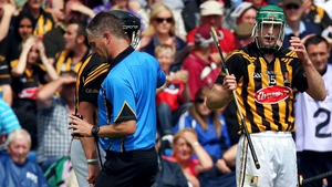 One of the bad days: Shefflin receives a second yellow card and then a red from referee Barry Kelly and is sent off during the SHC quarter-final in 2013