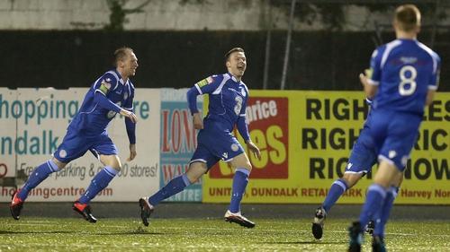 Waterford United's Ben Ryan celebrates scoring against Dundalk