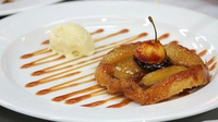 Tarte Tatin with Vanilla Ice-cream & a mini toffee apple - Maia Dunphy serves up this delicious dessert on Celebrity MasterChef Ireland