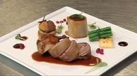 Pigeon Confit, Celeriac & Sweet Potato Flan - The MasterChef Ireland are set this Emirates challenge to create Pigeon Confit, Celeriac & Sweet Potato Flan, Layered Zucchini & Tomato Gratin, Pomegranate Seed Jus.