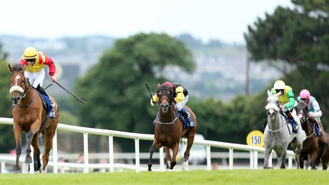 Brendan Brackan (l) landed the Solonaway Stakes at the Curragh