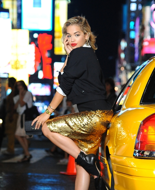 Rita Ora on location for DKNY