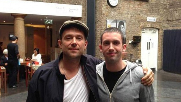 Damon at the Irish Film Centre with a new mate on his recent visit to Dublin