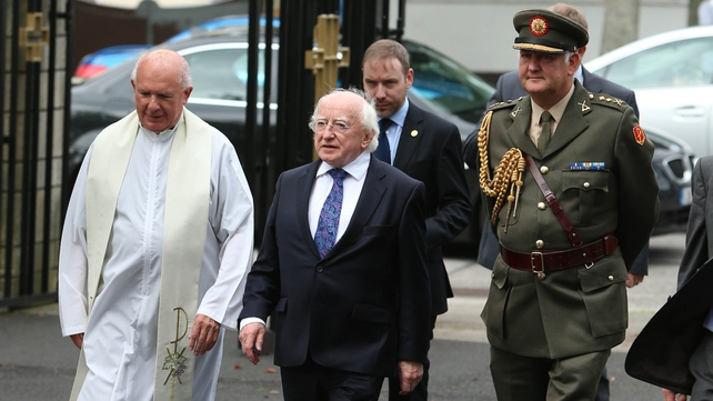 President Michael D Higgins joined the crowds of family and friends at the mass