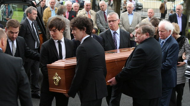 Mourners from the worlds of broadcasting and sport attended the funeral mass