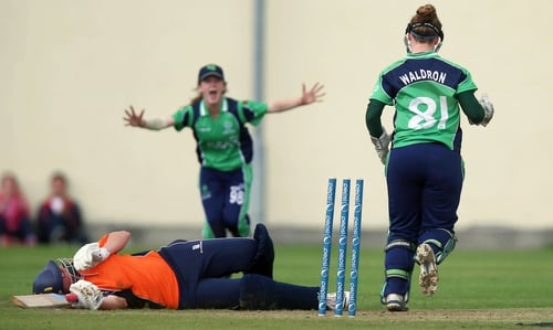 Wicket keeper Mary Waldron stumps Leonie Bennt of The Netherlands