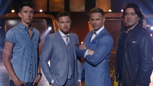 Singer Ryan O'Shaughnessy, presenters Aidan Power and Nicky Byrne with singer Brian Kennedy