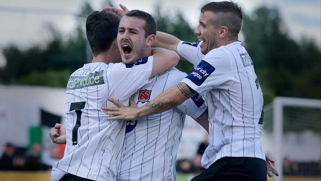 Kurtis Byrne celebrates his goal as Dundalk proved too strong for Shamrock Rovers at Oriel Park