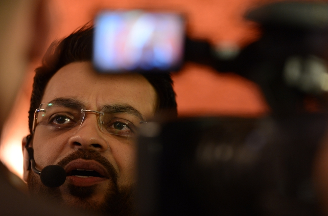 TV host Aamir Liaquat Hussain whose show has shocked Pakistan by giving babies away for adoption