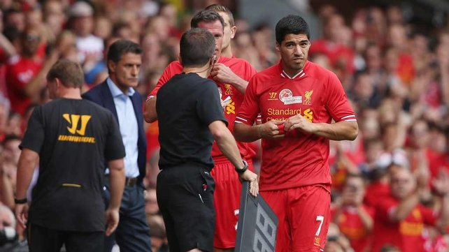 Luis Suarez in action during Steven Gerrard's testimonial today