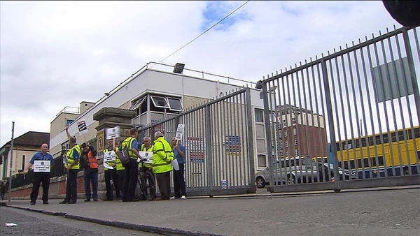 Striking workers picket a garage at Dublin Bus with all services across the city suspended