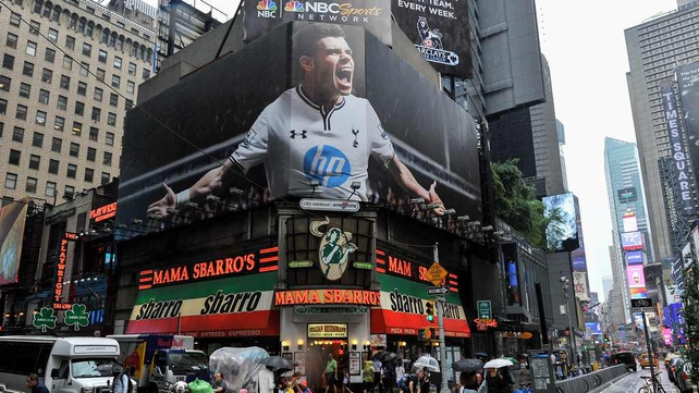 A billboard showing Gareth Bale in Times Square as a link with Real Madrid persists