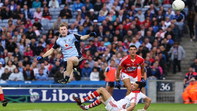 Jack McCaffrey scores Dublin's only goal against Cork early in the second half