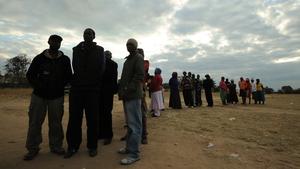 Voters queue in last week's Zimbabwean presidential election
