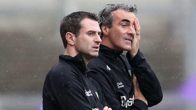 Jim McGuinness and Rory Gallagher on the sideline at Croke Park this afternoon