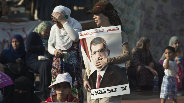 Supporters of Mohammed Mursi attend a rally in Cairo