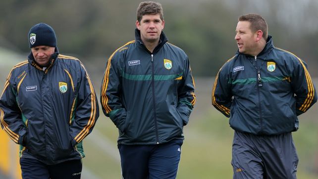 (L to R) Mikey Sheehy with manager Eamonn Fitzmaurice and trainer Cian O'Neill