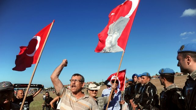Supporters of the defendants protest near the courthouse in the Silivri jail complex