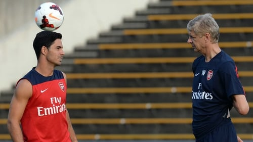 Mikel Arteta pictured with Arsene Wenger during the Japan leg of Arsenal's pre-season Asian tour
