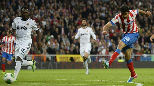 Diego Costa scores against Real Madrid in the Copa del Rey final