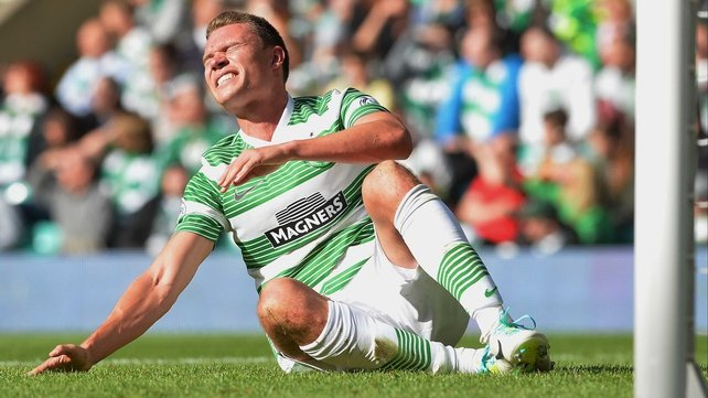 Derk Boerrigter after injuring himself on his Celtic debut