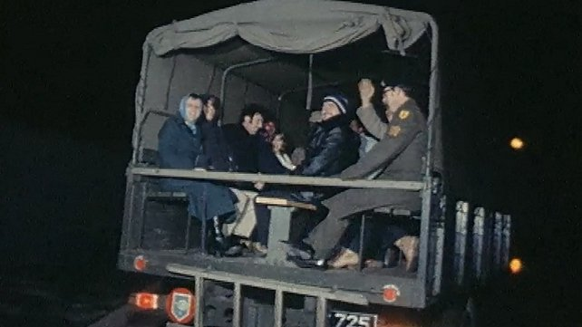 Commuters in Army Lorry during Dublin Bus Strike (1979)