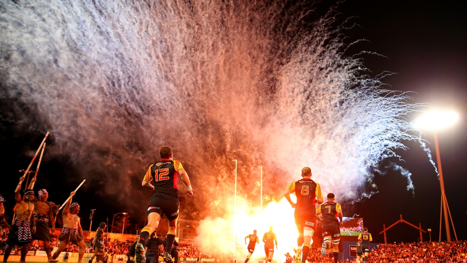 The Chiefs take to the field at the start of the Super Rugby Final in Hamilton, New Zealand