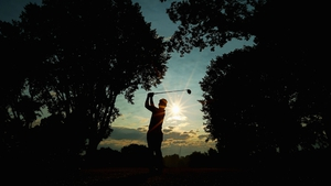 Hiroyuki Fujita of Japan hits his tee shot during the first round of the 95th PGA Championship in Rochester, New York