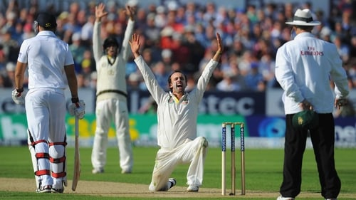 Nathan Lyon appeals with success for the wicket of England batsman Jonny Bairstow