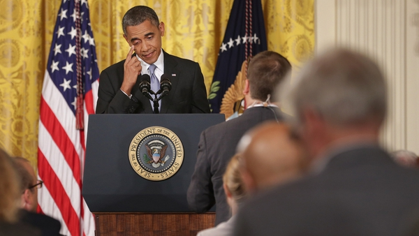 US President Barack Obama pictured at the briefing