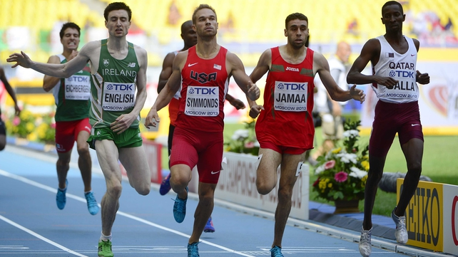 Mark English finishing fourth in his heat at the World Championships