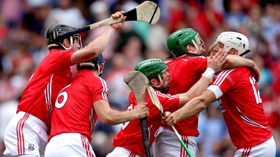 Cork hurlers celebrate defeating Dublin to reach the All-Ireland hurling final