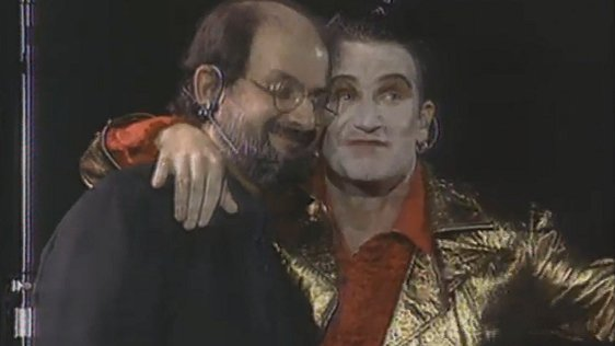 Salman Rusdie and Bono at Wembley Stadium, 12 August, 1993.