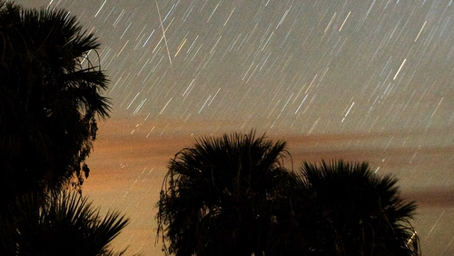 A Perseid meteor, which is visible every August, streaks across the sky in Nevada
