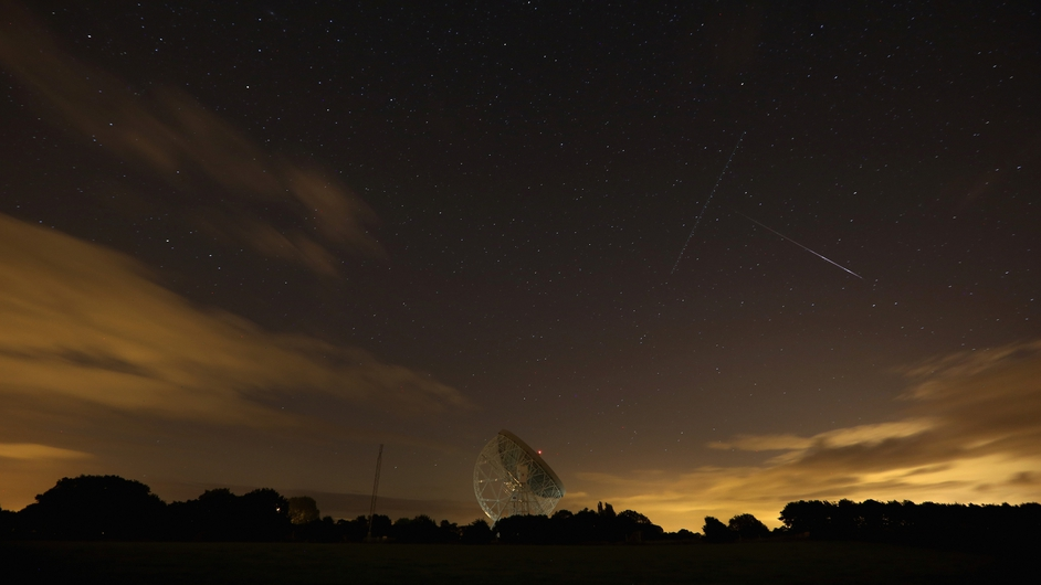 A meteor streaks across the sky at Holmes Chapel in England