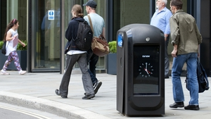The recycling bins track the unique addresses of smartphones as they pass by
