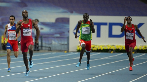 LaShawn Merritt (second from left) powers home to win gold